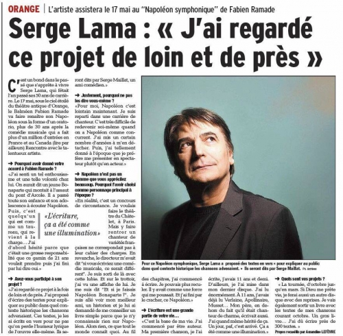 Serge lama, napoléon, fabien ramade, stephane compin, symphonique, chanson française, orange, theatre antique, compin, lama, serge, ramade production, hervouet,